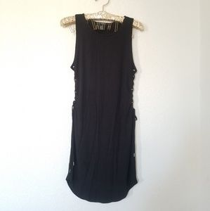 Forever 21 Black Ribbed Side Tie Tank Dress